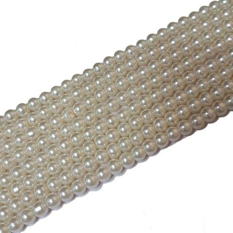6mm, Cream Glass Pearl String For Jewellery Making, 143+ Beads In Each Line , 5 Lines