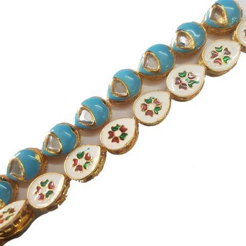 1 String of Kundan Kadi Drop Turquoise 12x15 mm