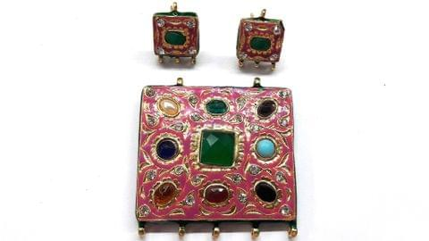 Traditional Pink Navratna Square Pendant With Combo Earring, Pendant- 2 inch, Earring- 1 inch