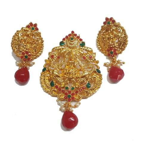 Red, Traditional Temple Pendant With Earring, Pendant- 3 inch, Earring- 2 inch