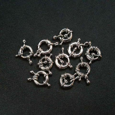 10 Pcs. AAA Quality Silver Spring Ring Clasp (with two kadi) As Shown in Picture
