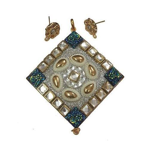 Blue White, Takkar Pendant With Combo Earring