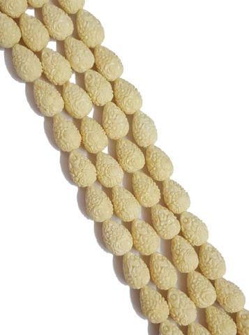 2 String Of Cream, Drop Shape Cinnabar 14+ Beads, 21x14 mm
