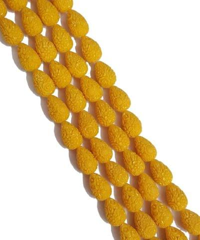 2 String Of Yellow, Drop Shape Cinnabar 14+ Beads, 21x14 mm