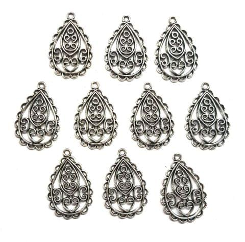 22 pcs, German Silver Charms, 30x20 mm