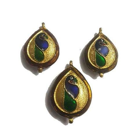 Golden, Peacock Design Kundan Meena Pendant Set With Combo Earring