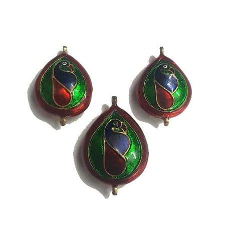 Maroon, Peacock Design Kundan Meena Pendant Set With Combo Earring