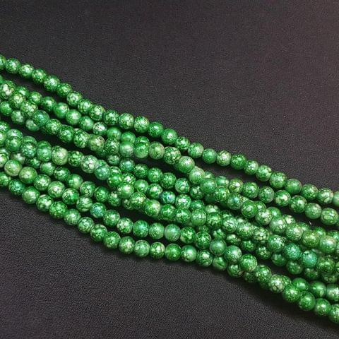 5 Lines, 8 mm Green Color Glass Beads For Jewellery Making/ 16 Inch/ 52+ Beads in Each String