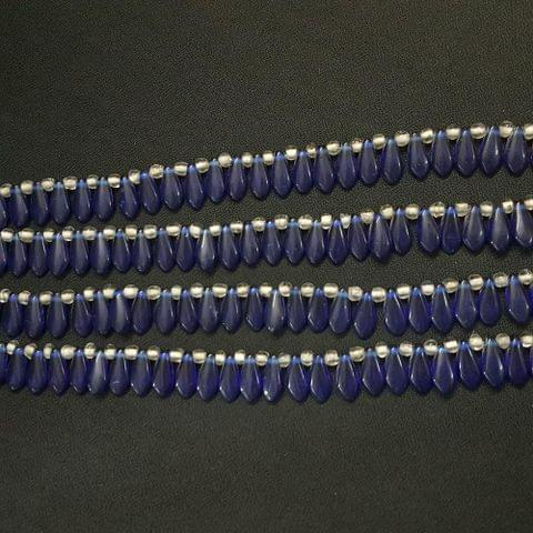 4 Lines, 16x7 mm Dark Blue Color Glass Beads For Jewellery Making/ 15 Inch/ 45+ Beads in Each String