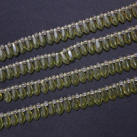 4 Lines, 16x7 mm Light Green Color Glass Beads For Jewellery Making/ 15 Inch/ 45+ Beads in Each String