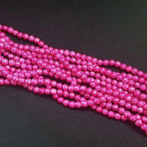 5 Lines, 8 mm Pink Color Glass Beads For Jewellery Making/ 16 Inch/ 52+ Beads in Each String