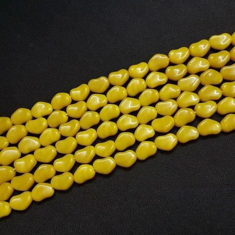 4 Lines, 11 mm Yellow Color Glass Beads For Jewellery Making/ 15 Inch/ 21+ Beads in Each String