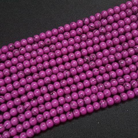 5 Lines, 6 mm Purple Color Glass Beads For Jewellery Making/ 15 Inch/ 63+ Beads in Each String
