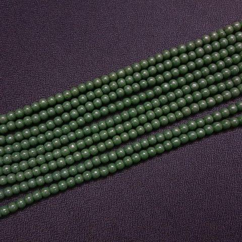 10 Lines, 4 mm Emerald Green Color Glass Beads For Jewellery Making/ 16 Inch/ 101+ Beads in Each String
