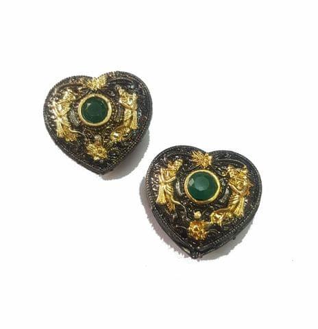 20x22 mm, Green Antique Piece, 1 pair