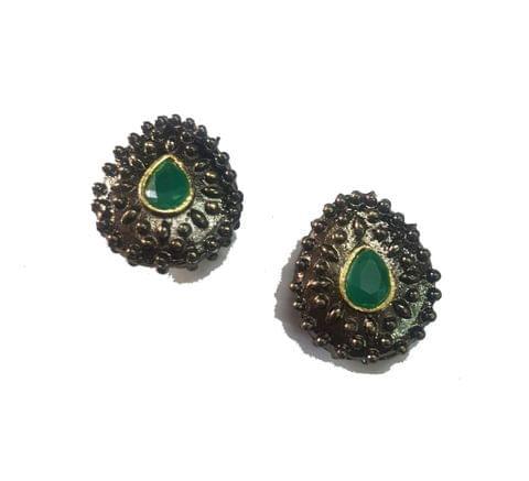 19x21 mm, Green Antique Piece, 1 pair
