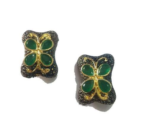 13x21 mm, Green Antique Piece, 1 pair
