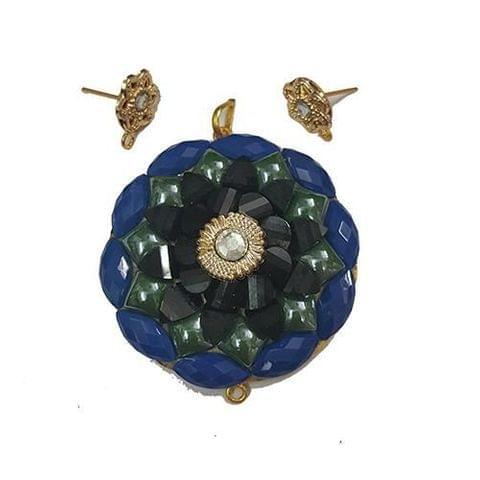 Dark Blue, Takkar Pendant With Combo Earring