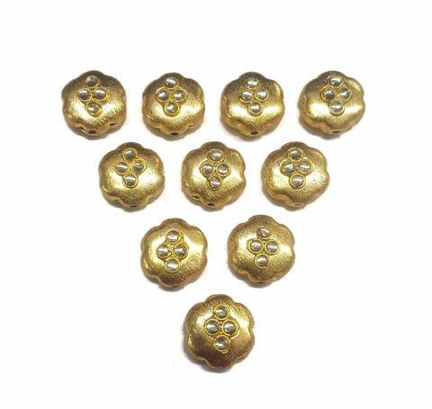 White Flower Shaped Gold Polished Kundan Beads 16 mm, 10 pcs