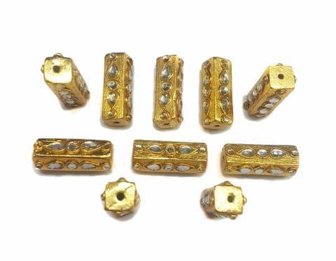 Gold Polished Kundan Beads 30x12 mm, 5 pcs