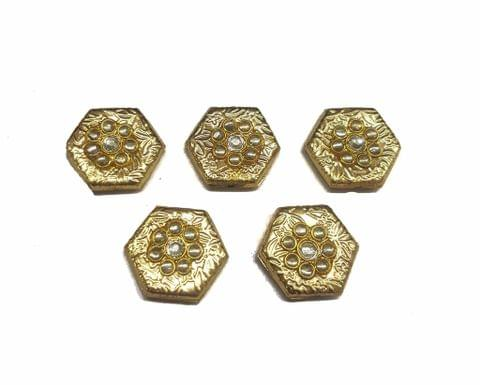 White Hexagon Shaped Gold Polished Kundan Beads 21x24 mm, 5 pcs