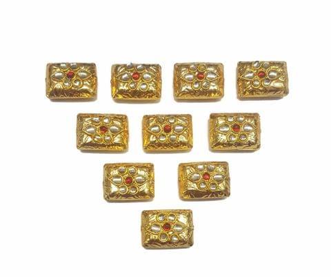 Red Rectangle Shaped Gold Polished Kundan Beads 19x14 mm, 10 pcs