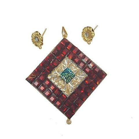 Red Blue, Takkar Pendant With Combo Earring