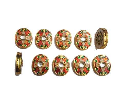 10 pcs Orange Color Oval Shape Spacers 23x19mm