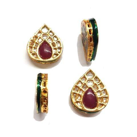 4 pcs, Kundan Beads Golden Spacers, 28x24 mm