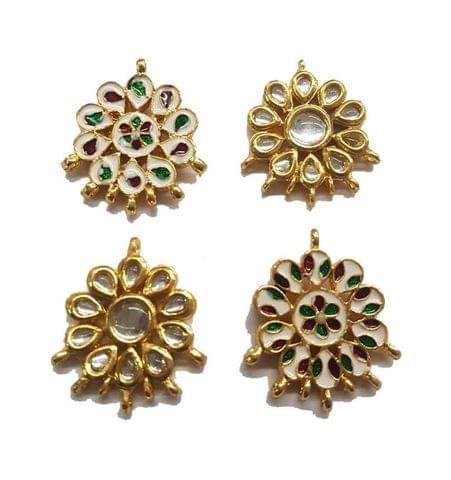 4 pcs, Kundan Beads Golden Spacers, 34x30 mm