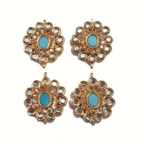 4 pcs, Kundan Beads Golden Spacers, 36x30 mm
