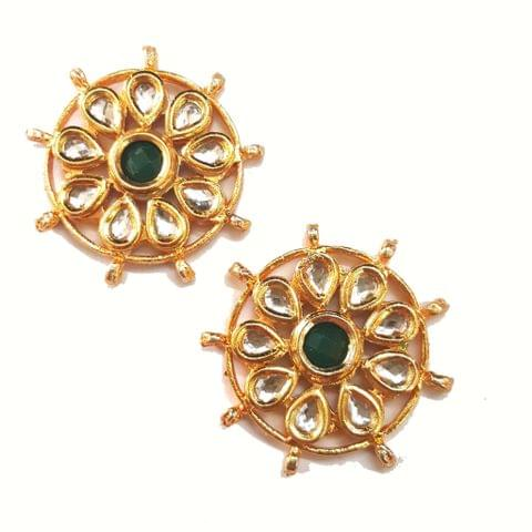 2-pcs-Kundan Beads Golden Spacer 37x37mm