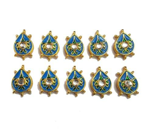 10 pcs Blue Color Pan Shape Spacers 32x20mm