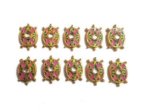 9 pcs Pink Color Oval Shape Spacers 30x19mm