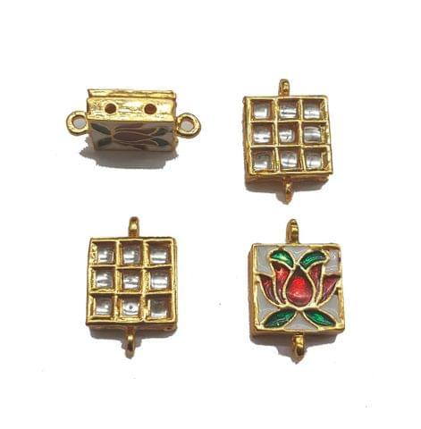 4 pcs, Kundan Beads Golden Spacers, 22x13 mm