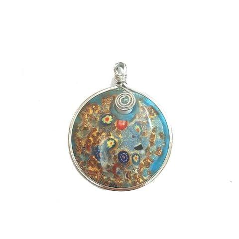 Multi Coloured Designer Glass Pendant, 2.5 Inch