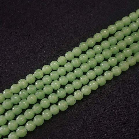 6mm, Green Round Shape Beads, 4 Strings, 68+ Beads In Each String, 15 Inches