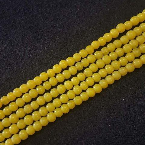 6mm, Yellow Round Shape Beads, 4 Strings, 68+ Beads In Each String, 15 Inches