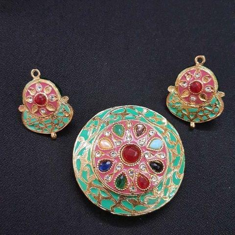 Traditional Sea Green Navratna Round Pendant With Combo Earring, Pendant- 2 inch, Earring- 1.5 inch