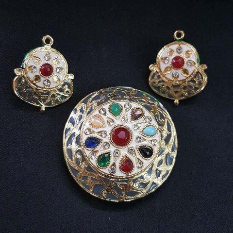 Traditional Grey Navratna Round Pendant With Combo Earring, Pendant- 2 inch, Earring- 1.5 inch