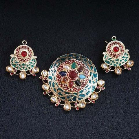 Traditional Sea Green Navratna Round Pendant With AD Kundan, Combo Earring, Pendant- 2.5 inch, Earring- 1.75 inch