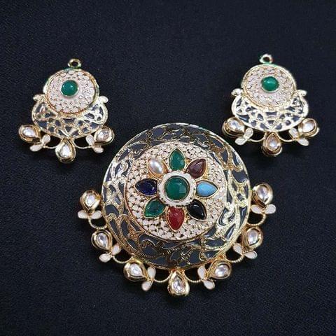 Traditional Grey Navratna Round Pendant With AD Kundan, Combo Earring, Pendant- 2.5 inch, Earring- 1.75 inch