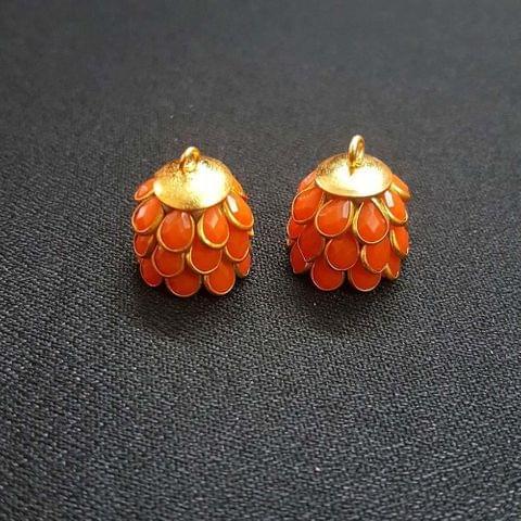 Orange, Pacchi Jhumka 16mm, 2 Pair