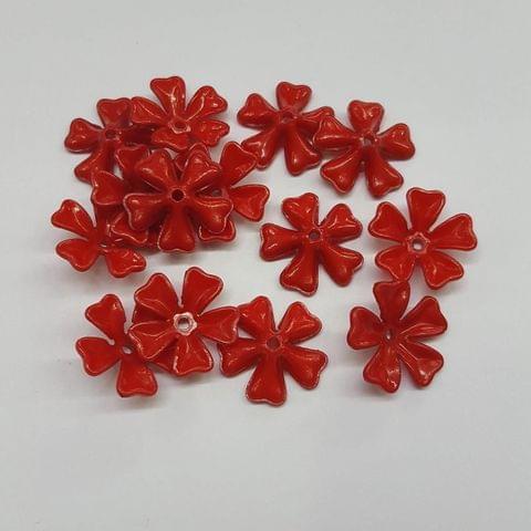 Red, Acrylic Flower 11mm, 100 pcs