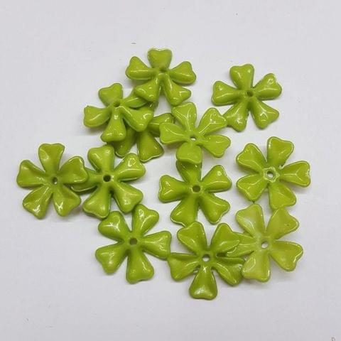 Green, Acrylic Flower 11mm, 100 cs