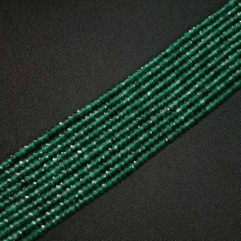 4mm, Dark Green Jade Stone Strings, Pack Of 2 Lines, 15 Inches ( 112+ beads )
