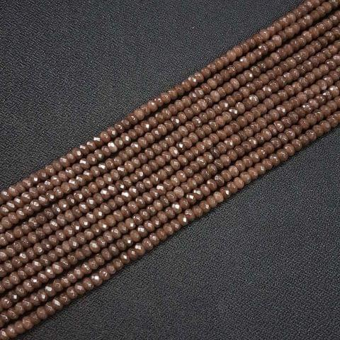4mm, Brown Jade Stone Strings, Pack Of 2 Lines, 15 Inches ( 112+ beads )