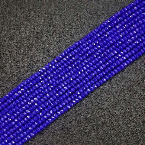 4mm, Royal Blue Jade Stone Strings, Pack Of 2 Lines, 15 Inches ( 112+ beads )