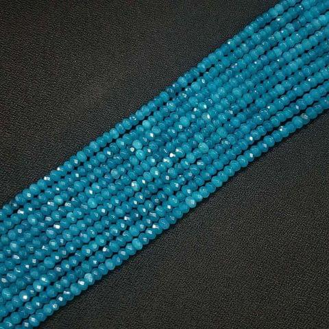 4mm, Blue Jade Stone Strings, Pack Of 2 Lines, 15 Inches ( 112+ beads )
