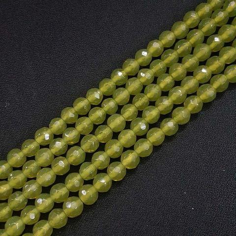 8mm Light Green Jade Faceted Beads, 2 Strings, 43+ Beads In Each String